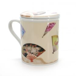 cup with lid and folding fans patterns white ÔGI