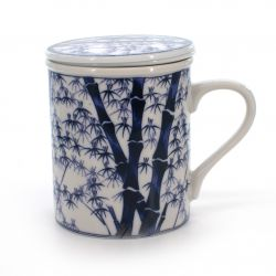 cup with lid and blue bamboo grove patterns white CHIKURIN