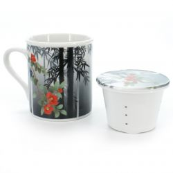 cup with lid bamboo and peony patterns white and grey SUMIE TAKE BOTAN
