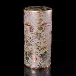 Japanese metal tea box, 016T2C, beige