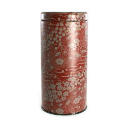Japanese iron tea box, NATURE, red