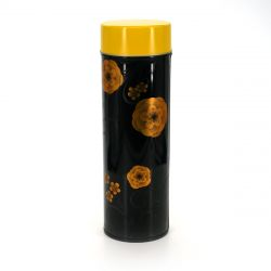 Japanese metal tea box, KAKYOKU, yellow and black