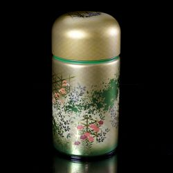 Japanese metal tea box, 1420SG, green