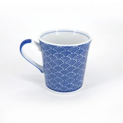 Japanese blue ceramic teacup mug SEIGAIHA waves