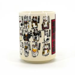 Japanese white ceramic teacup Ø7,7cm MANEKINEKO cats