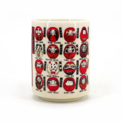 Japanese white ceramic teacup Ø7,7cm DARUMA okiagari dolls