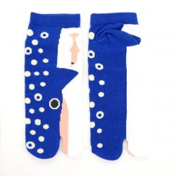 Japanese cotton tabi socks, KUJIRA, blue
