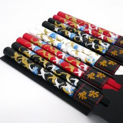 3 colors japanese chopsticks set in wood cranes TSURU
