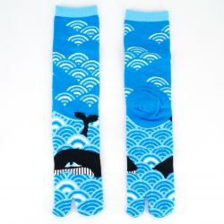 Japanese cotton tabi socks, UMI, blue
