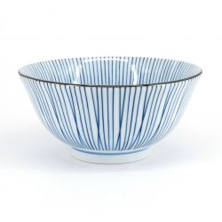 blue japanese bowl in ceramic stripes SENSUJI TOKUSA