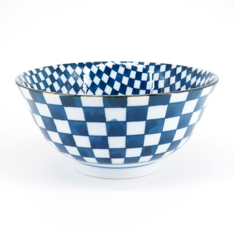 blue japanese bowl in ceramic checkerboard ICHIMATSU