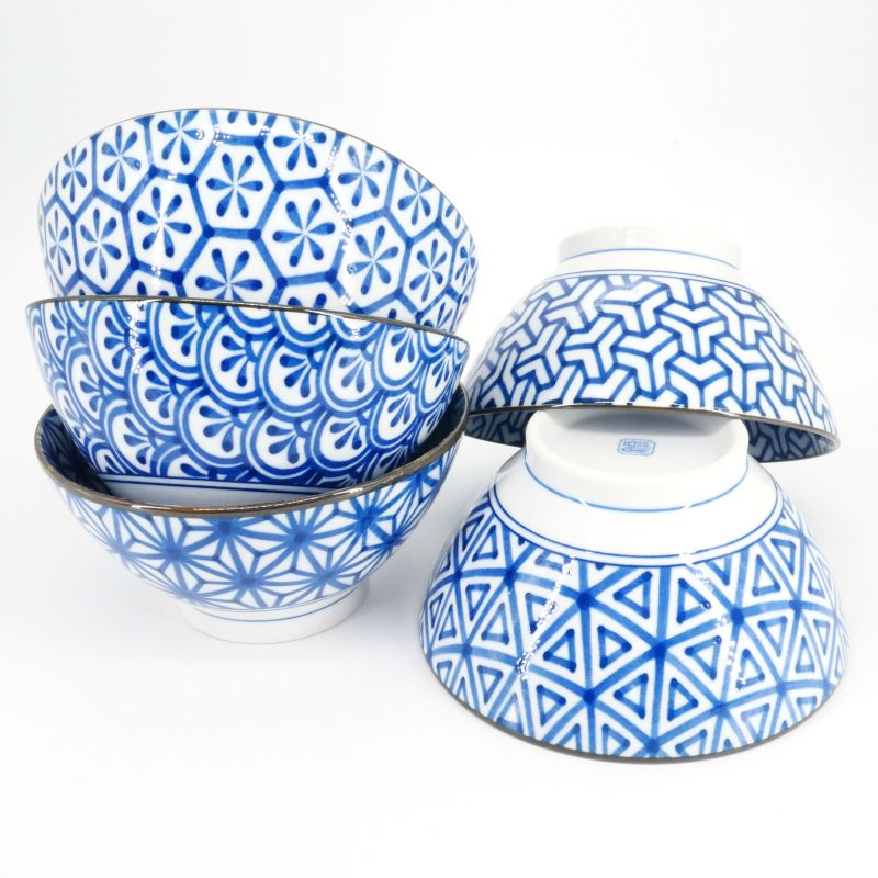 sashiko japanese ramen bowls set in ceramic blue patterns SASHIKO