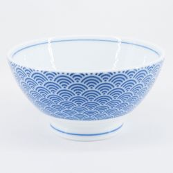 Japanese blue ceramic rice bowl, SEIGAIHA waves Ø11,5cm