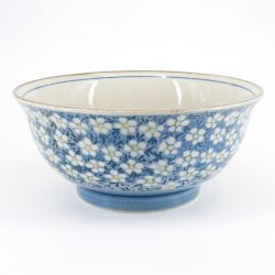 blue japanese ramen bowl in ceramic Ø18,5cm UME plum flowers