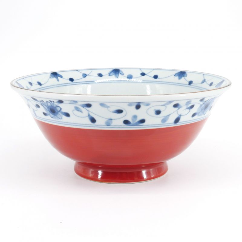 blue and red japanese ramen bowl in ceramic Ø19cm KARAKUSA