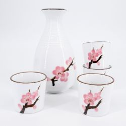 pink japanese sake set in ceramic cherry blossoms SAKURA
