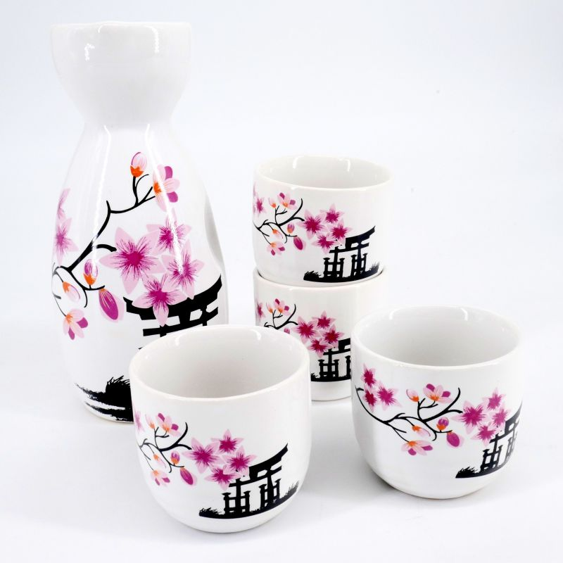pink japanese sake set in ceramic flowers TORII