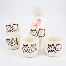 grey japanese sake set in ceramic cats MANEKINEKO