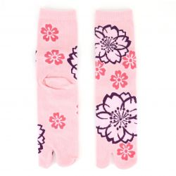 Japanese cotton tabi socks, SAKURA, pink