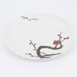 red japanese round plate in ceramic plum flowers AKAUME