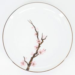 pink japanese round plate in ceramic cherry blossoms SAKURA