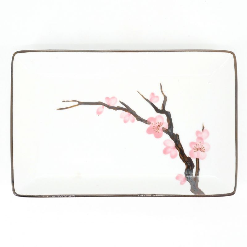 pink japanese sushi plate in ceramic cherry blossoms SAKURA