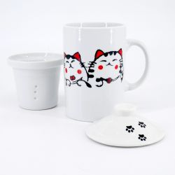 white japanese mug teacup with lid and filter in ceramic cats MANEKINEKO