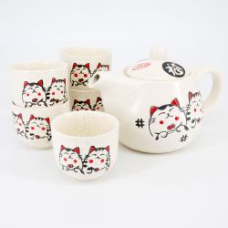 grey japanese tea set in ceramic cats MANEKINEKO