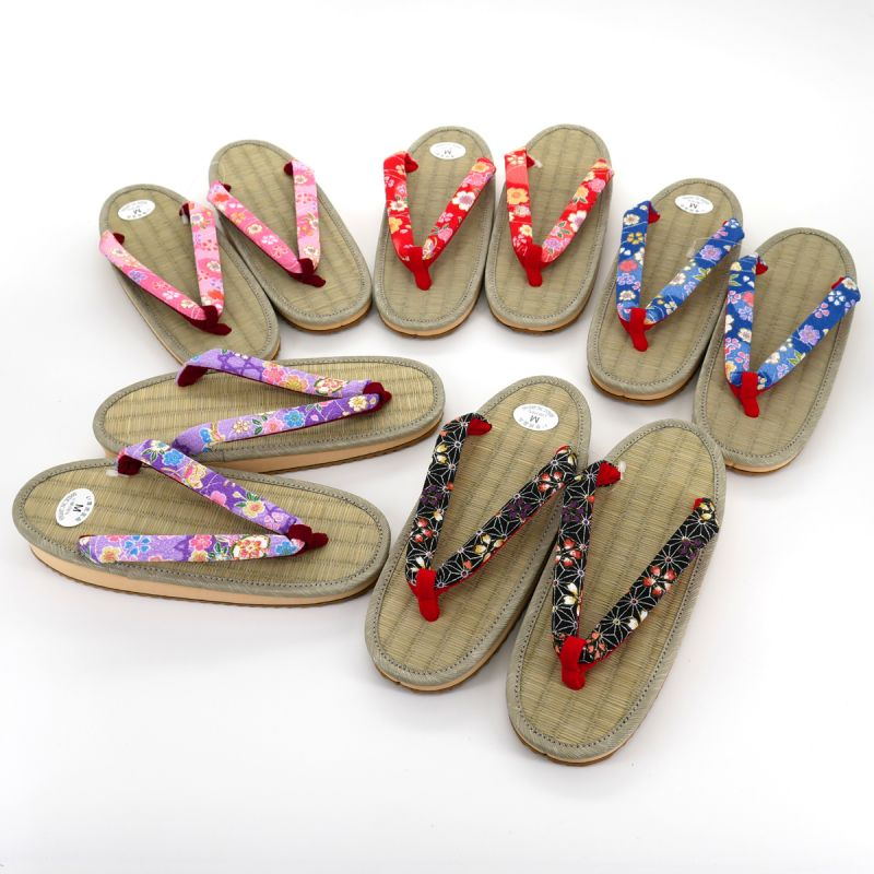 Pair of Japanese zori sandals for women, GOZA 025MOTIFS, random pattern