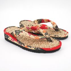 Pair of Japanese sandals zori seagrass, SAKURA 55BL, blue