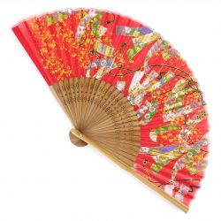 Japanese fan in Silk and Bamboo, RIBON, made in China