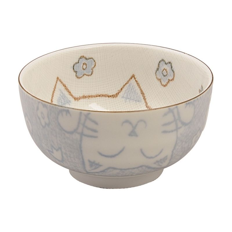 Japanese blue cat ceramic bowl and mug - AO SET
