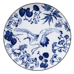 Japanese ceramic plate with crane pattern - KURENPURETO