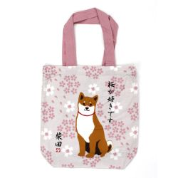 100% cotton tote bag, CANVA BAG, shiba and flowers