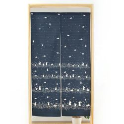 Japanese noren cotton curtain, 85 x 150 cm, small rabbits, USAGI