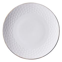 Japanese round plate in white ceramic, ASANOHA, stars