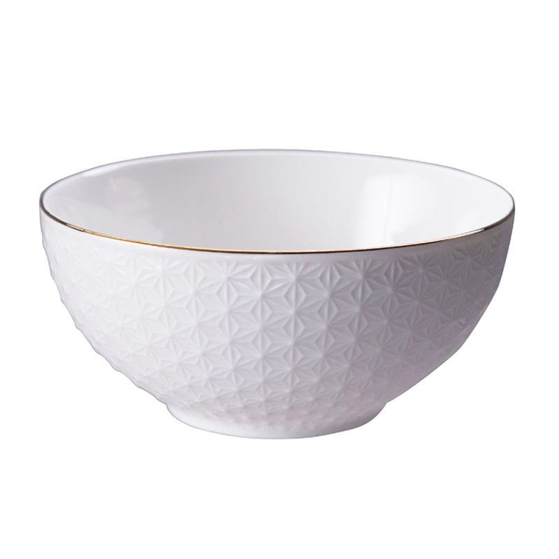 SEIGAIHA white ceramic Japanese soup bowl, waves