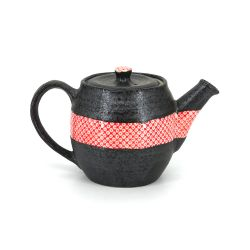 Japanese ceramic teapot, HAIIRO, pink and gray, made in Japan