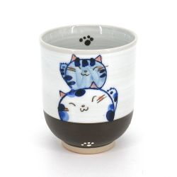 Japanese ceramic mug, blue cats - NEKOMARU