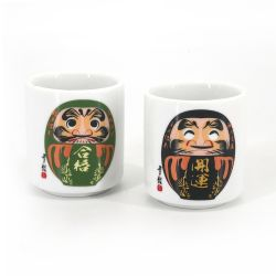 Set of 5 traditional Japanese sake cups, WAGARA, daruma patterns
