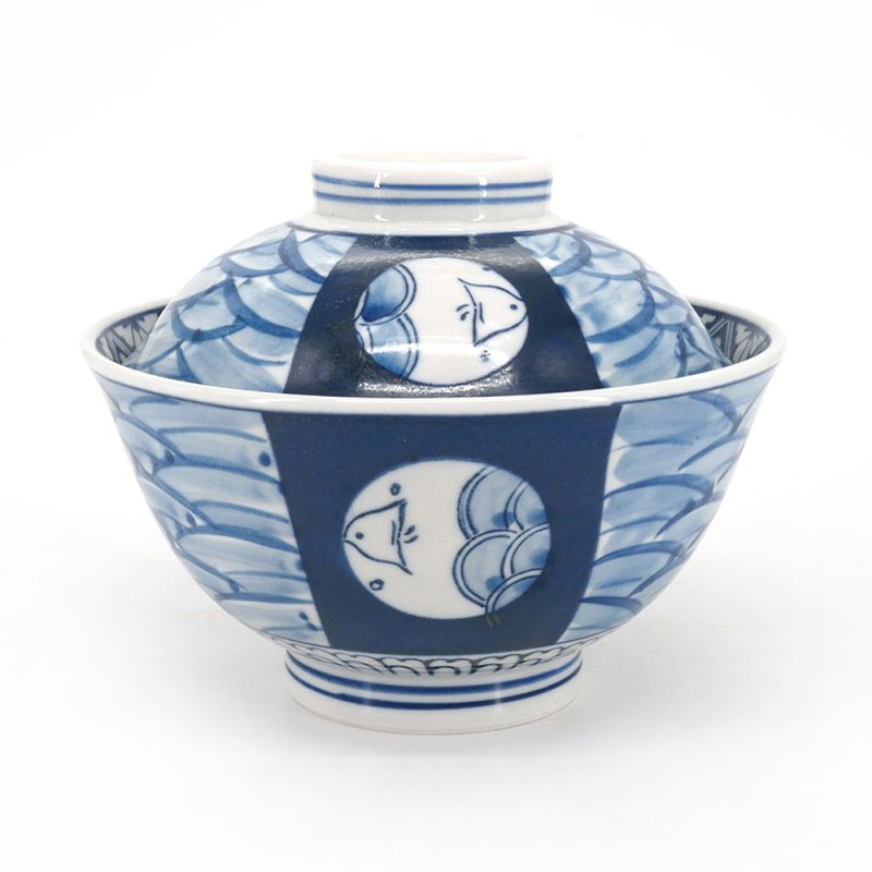Japanese bowl with blue and white lid - FUTATSUKI