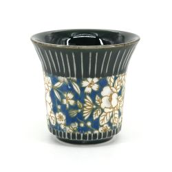 Set of 2 black ceramic Japanese cups - HANA PATTA
