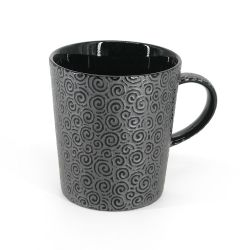 Japanese black ceramic mug - UZUMAKI - swirl engraving