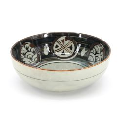 Japanese beige and brown ceramic bowl - NAMI