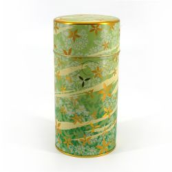 Japanese metal tea box, HANA ASOBI, green