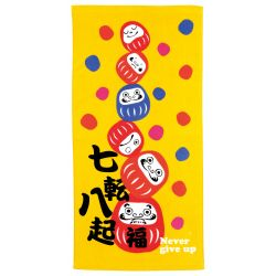 Japanese cotton bath towel, NEVER GIVE UP, Daruma