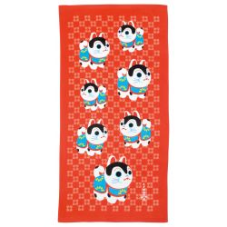 Large Japanese cotton bath towel, HARIKO INU, small dog