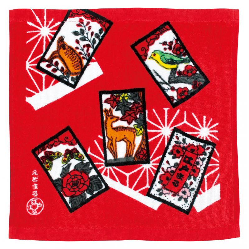 Japanese cotton hand towel, HANAFUDA, the flower game