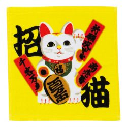 Japanese cotton hand towel, MANEKINEKO, lucky cat