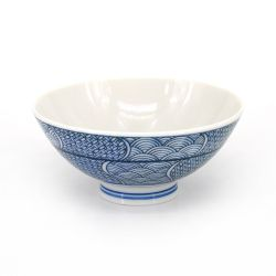 Japanese blue ceramic rice bowl, SEIGAIHA